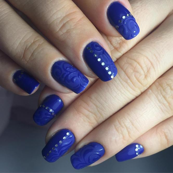 Blue Striped On Themed Nail Art Design Dark And White Polish Is