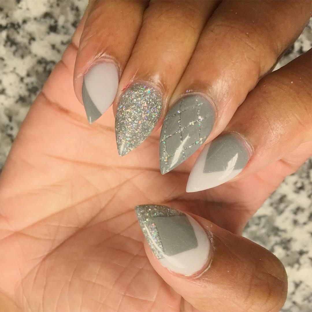 Neutral Grey Glitter Nails