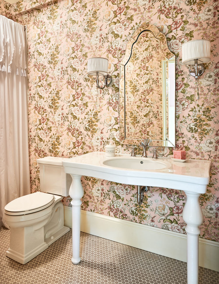 22+ Floral Bathroom Designs, Decorating Ideas | Design ... on Floral Tile Bathroom Ideas  id=75773
