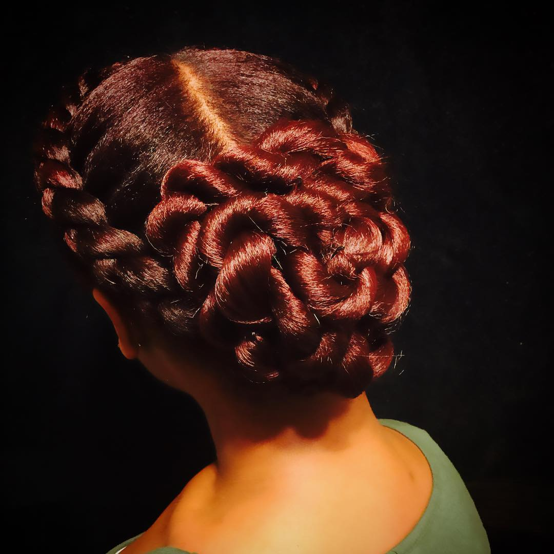 Twisted Natural Black Bun Hairstyle