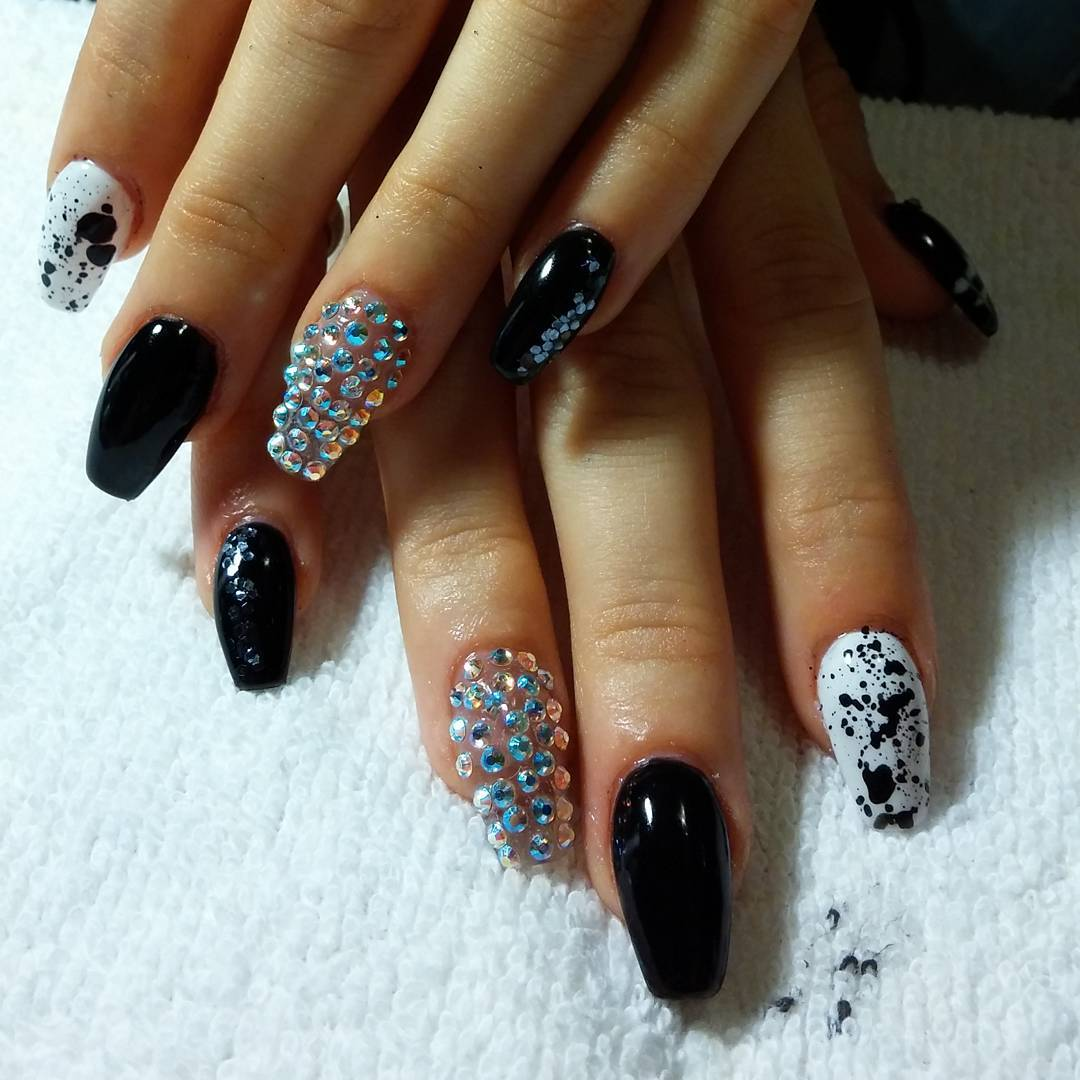Black And White Nail Art For Acrylic Nails Custom Bling Design