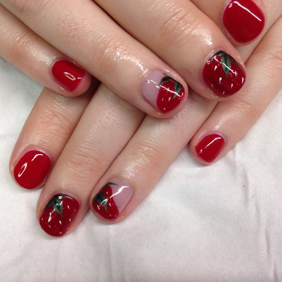 Red Nails French Tip Manicure Attractive Nail Art For Short
