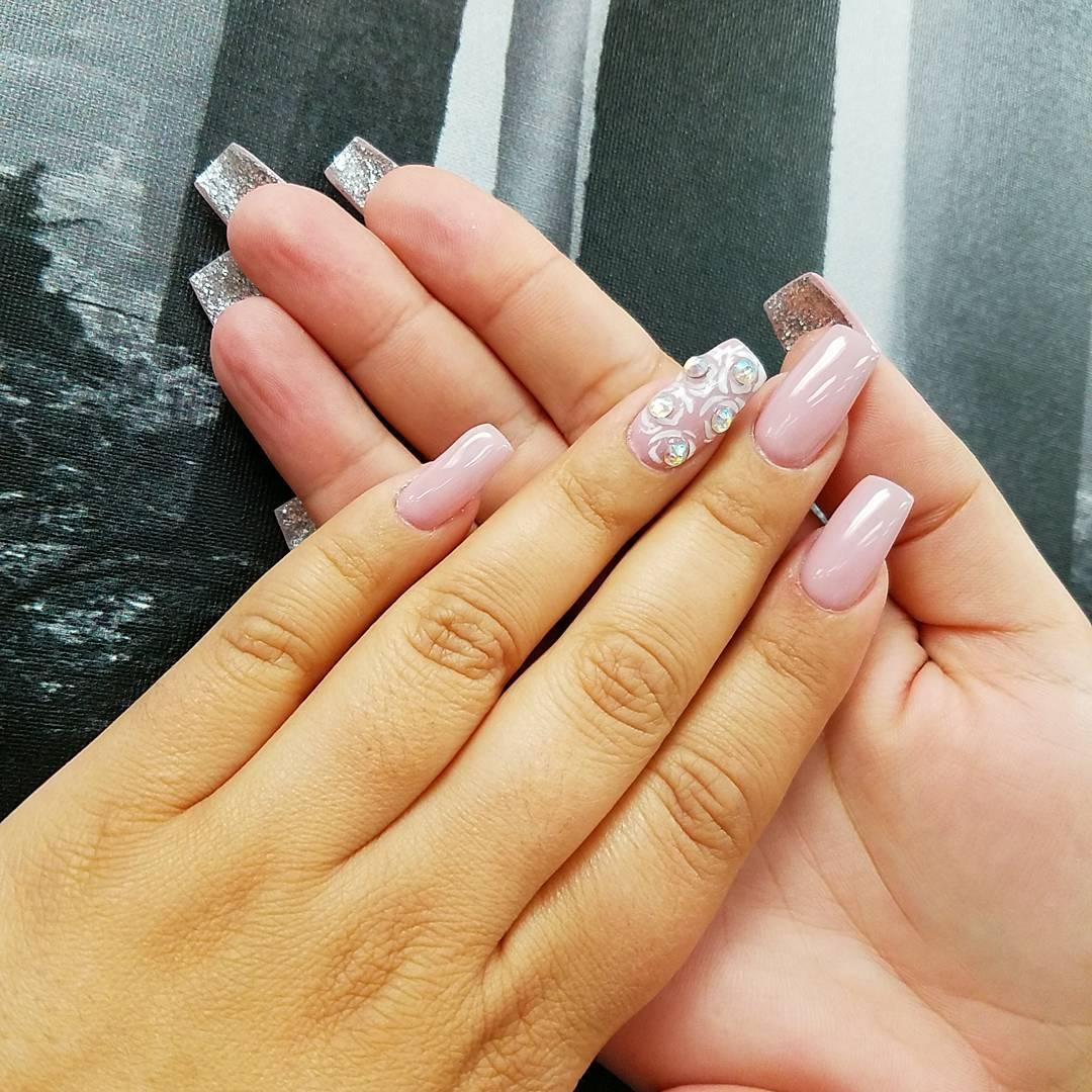 Light Pink Acrylic Nail Design For Long Nails