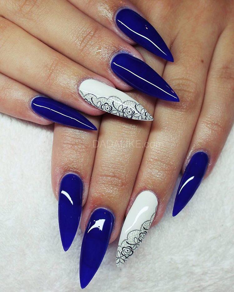 Acrylic Nail Purple Blue Patterns