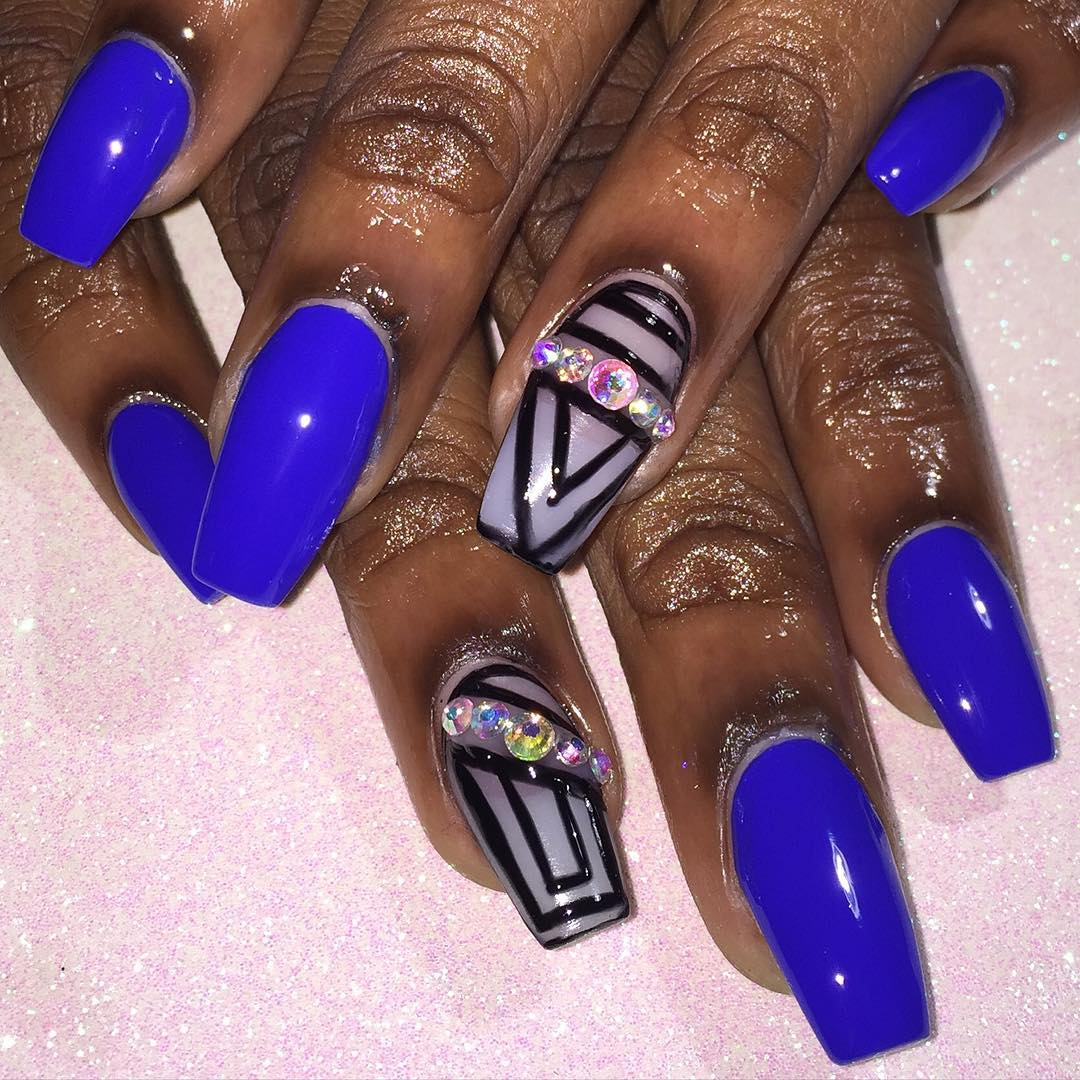 View Images Royal Blue Nail Art