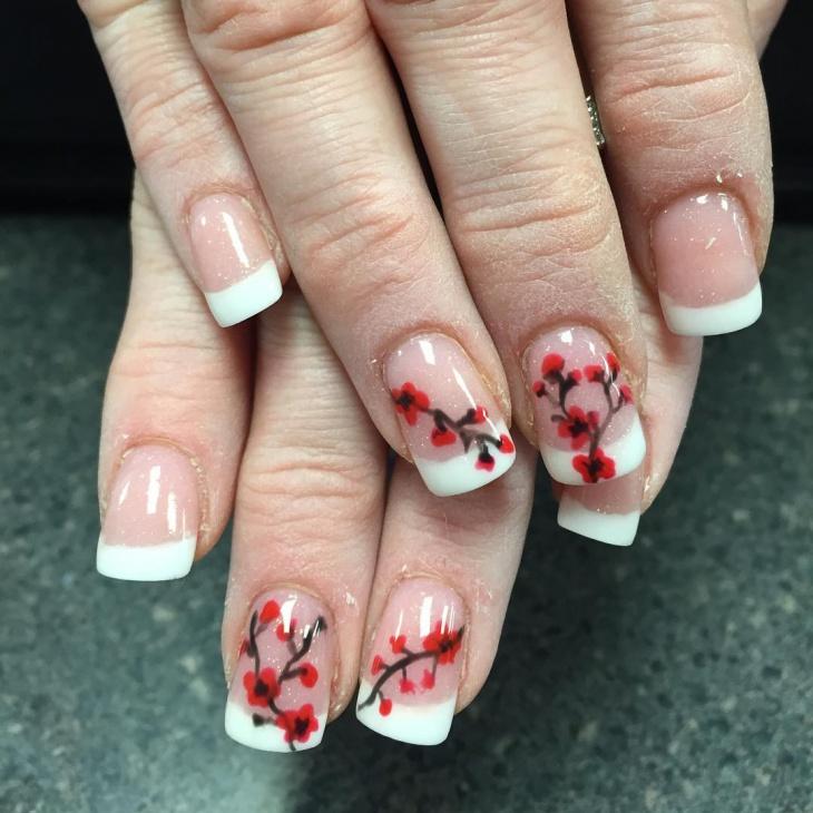 Cherry Blossom Print Nail Art