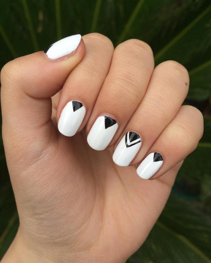 Geometric Nail Art For Medium Nails Design
