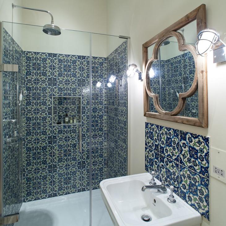 21+ Blue Tile Bathroom Designs, Decorating Ideas | Design ... on Floral Tile Bathroom Ideas  id=97612