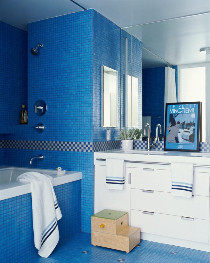 21+ Blue Tile Bathroom Designs, Decorating Ideas | Design ... on Floral Tile Bathroom Ideas  id=42030