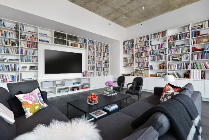 15+ Living Room Library Designs, Ideas