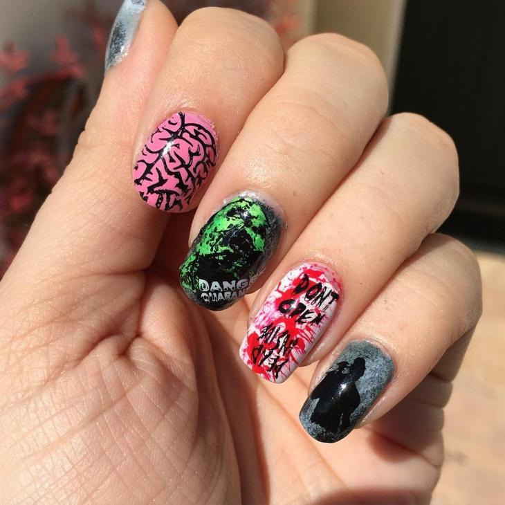 Easy Zombie Nail Art