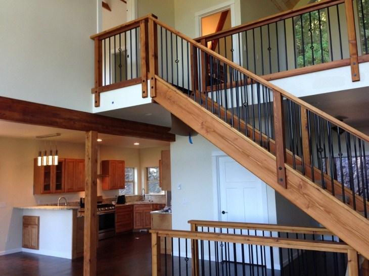 17 Stair Railing Designs Ideas Design Trends Premium Psd   Rustic Stairs And Railings   Handrail   Custom   Design   Cabin   Interior