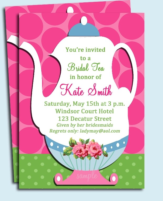 Tea Party Bridal Shower Invitations Is One Of Best Ideas Which Can Be Applied Into Your Invitation 12