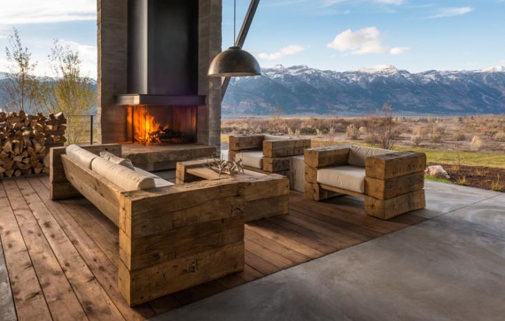 here rustic rooftop terrace furniture
