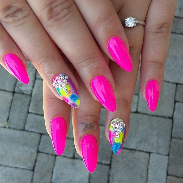 Neon Pink Gel Nail Design