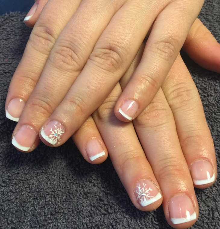 Christmas Snowflake French Tip Nail Design