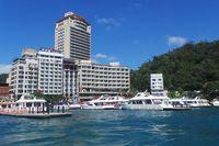 Deretan hotel yg berdiri di sekitar Sunmoon Lake (Wahyu/detikTravel)
