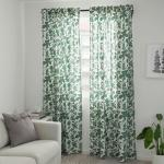 Alpklover Ikea Green White Floral Pattern 57x98 Pair Of Curtains Window Panels