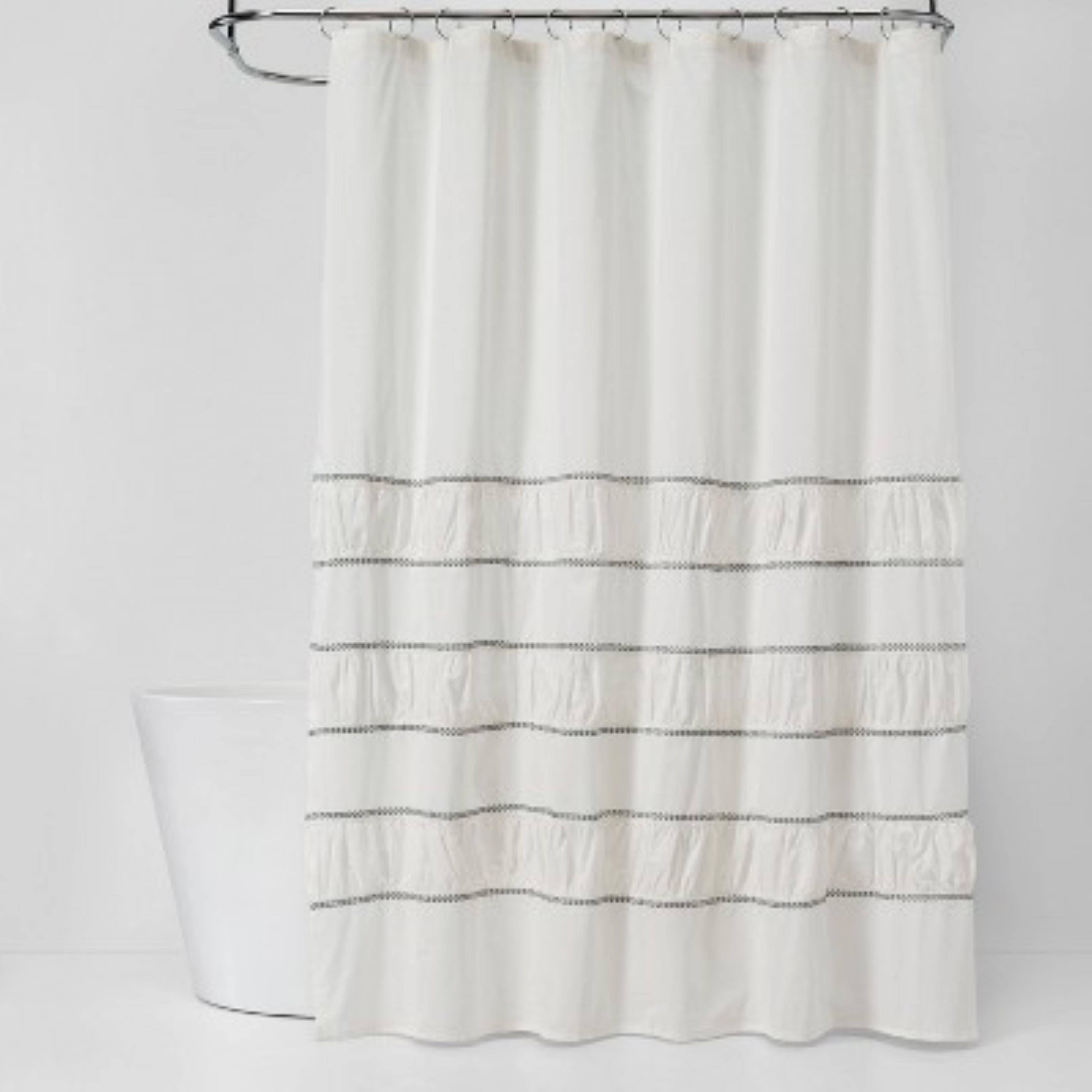 35 pcs threshold pieced pleated embroidered shower curtain off white new retail ready