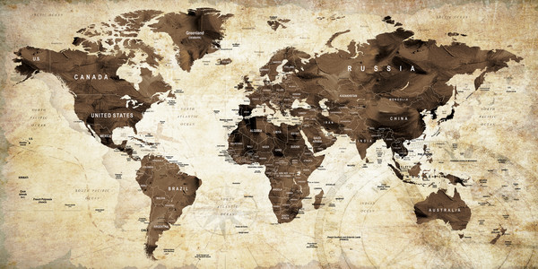 Earth Toned World Map Art and Paintings   Printed on Gallery Wrapped     Vintage World Map 1