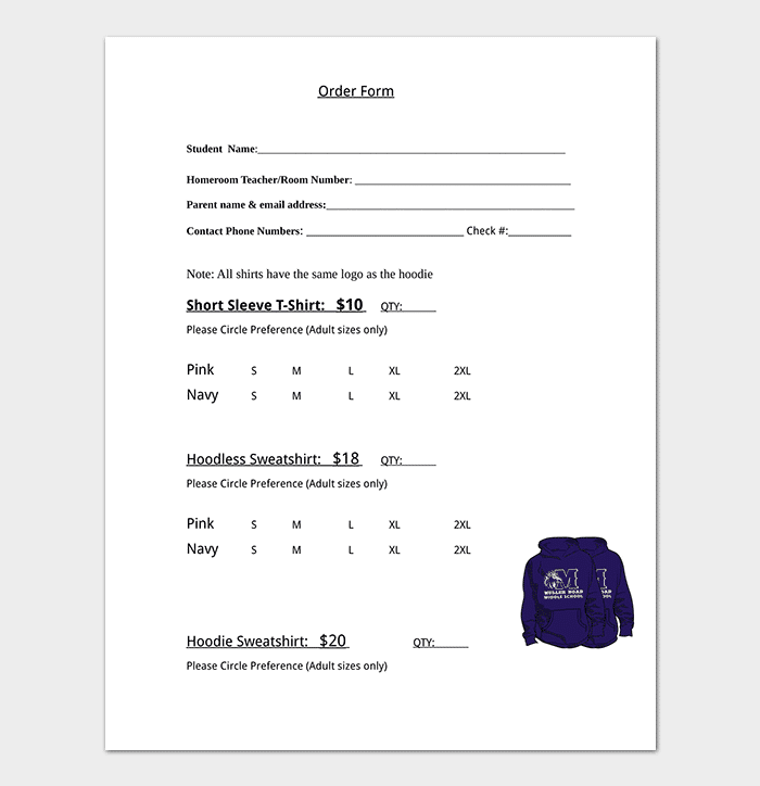 Form Template T Microsoft Word Shirt Single Order