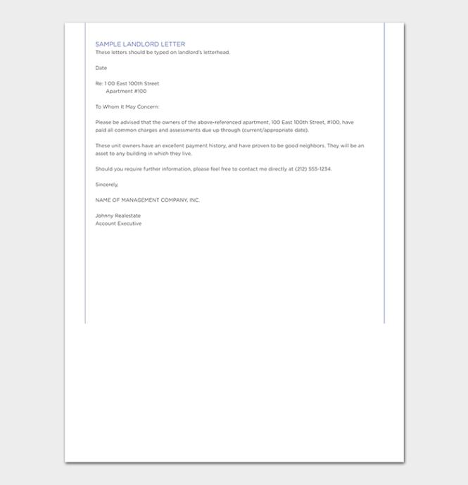 Landlord Reference Letter Tips Format