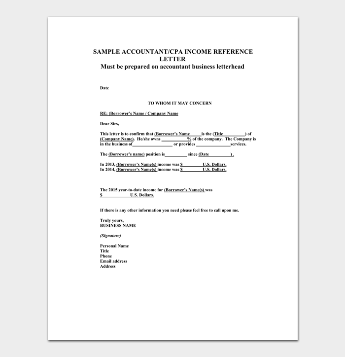 cpa reference letter gallery format formal sample