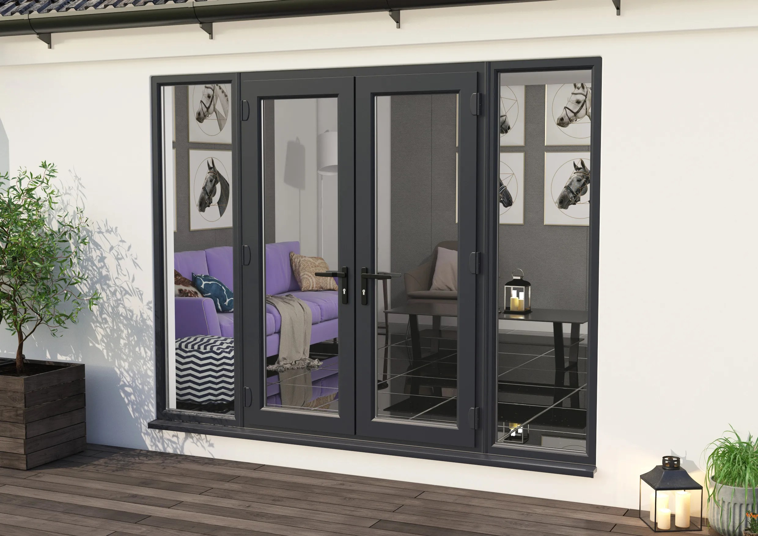 2400mm part q upvc grey outer white inner french doors 1200mm doors 2 x 600mm sidelights