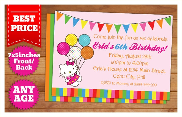 9 kitty design party invitations