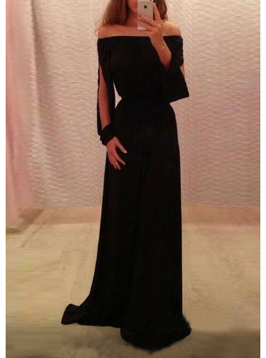 Slash Sleeved Bardot Style Maxi Dress Black Knit Fabric