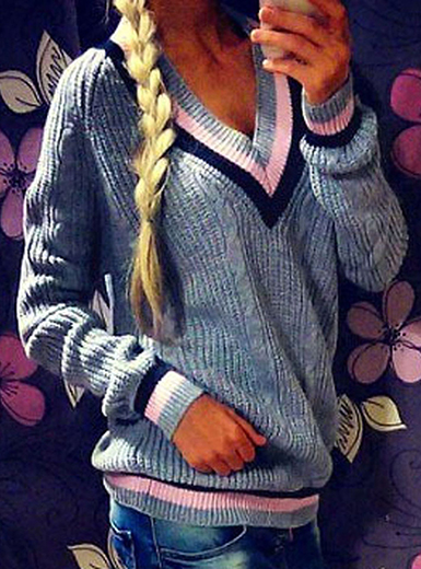 WMNS Tennis Style Sweater - Cable Knitting / V-Neckline