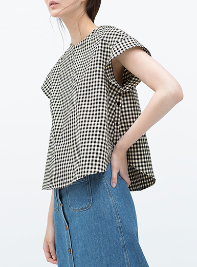 Womens Shirt Black White Checked Pattern Raglan
