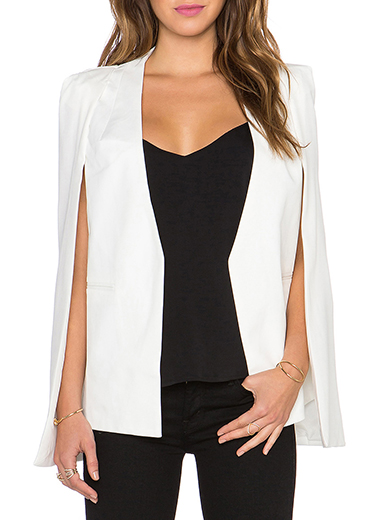 Womens Cape Jacket White Unconstructed