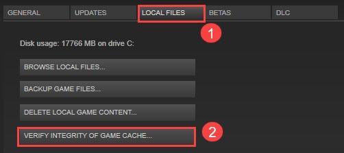 Проверить целостность файлов игры ...