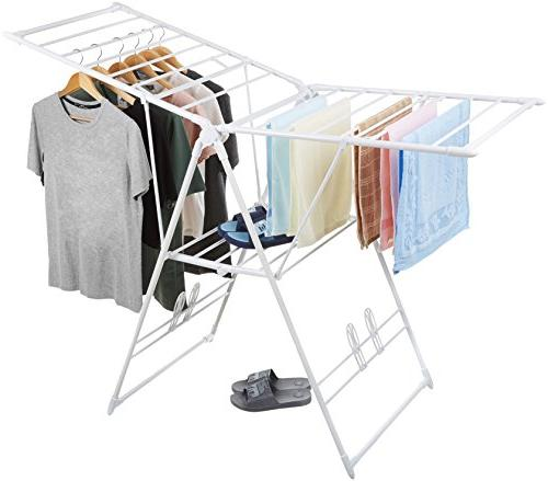 white amazonbasics gullwing clothes drying rack clotheslines laundry airers laundry supplies
