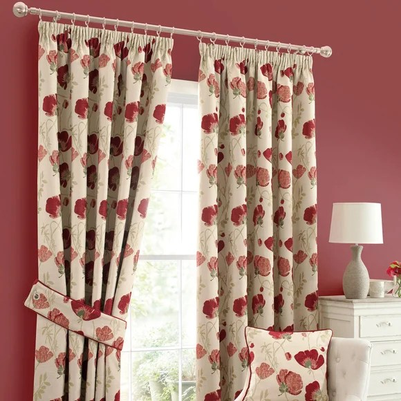 Red Poppy Chenille Pencil Pleat Curtains Dunelm
