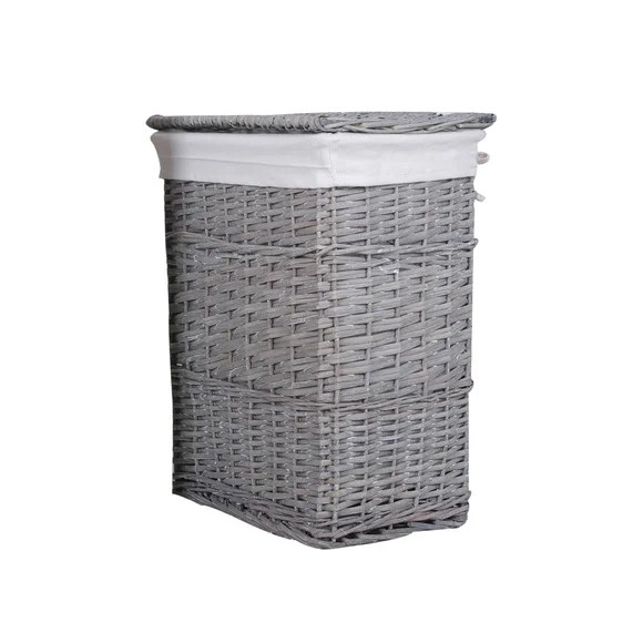 Versailles Grey Square Laundry Basket Dunelm