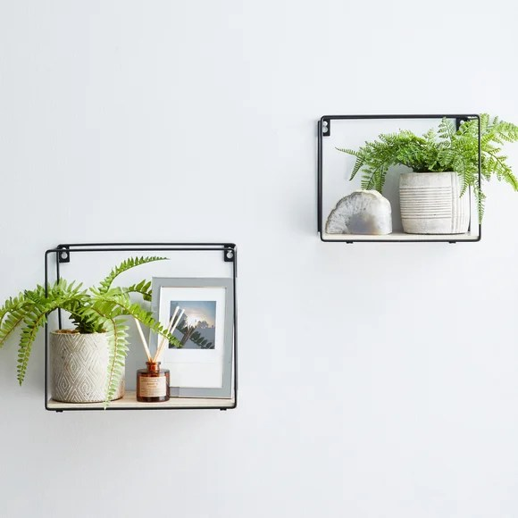 set of 2 metal framed black wall shelves