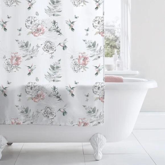 heavenly hummingbird blush shower curtain