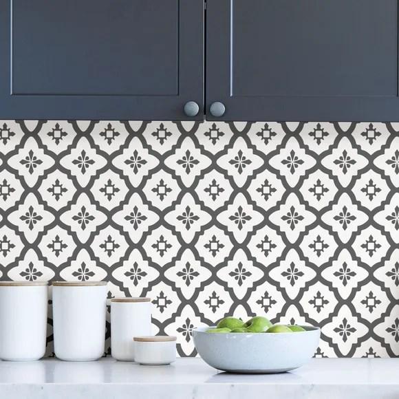 algarve black self adhesive backsplash tiles