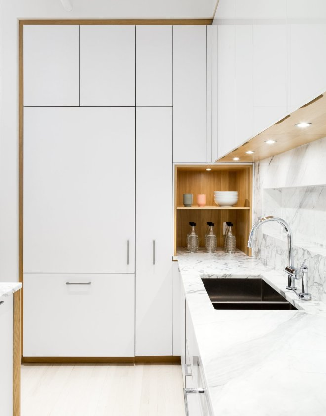 These 30 White Kitchens Are Anything But Ordinary - Photo 24 of 30 - The kitchen has been designed in collaboration with Henrybuilt. The laminate cabinets are paired with a marble countertop by SMC Stone.