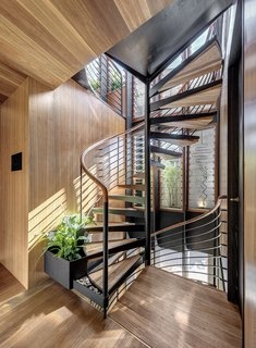 Best 60 Modern Staircase Wood Railing Design Photos And Ideas Dwell | Outside Stairs To Second Floor | Steel | Entrance | Staircase | Patio | Deck