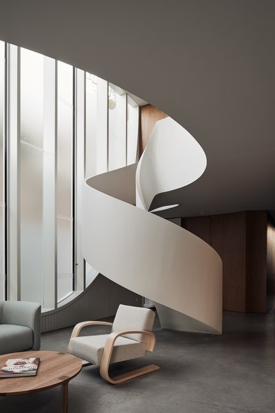 Best 60 Modern Staircase Design Photos And Ideas Dwell | Staircase Window Design Exterior | Round Shape Window | Car Parking | 2Nd Floor House Front Elevation | Section Window | Corner Window