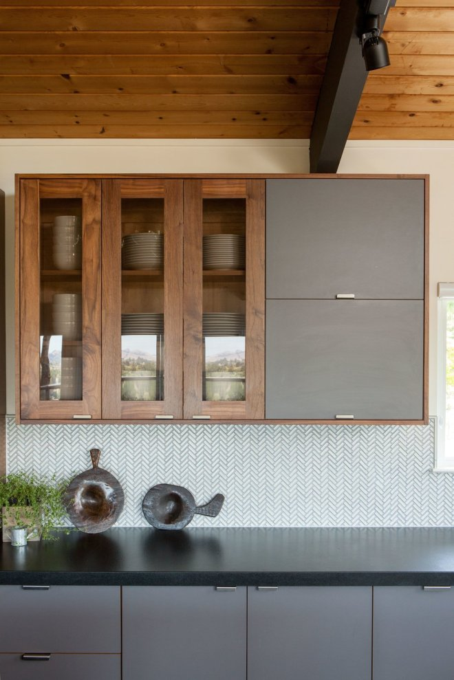 25 Backsplash Ideas For Your Kitchen Renovation - Photo 17 of 25 - A backsplash laid out in a herringbone pattern adds a subtle layer of texture while pendant lighting adds depth.