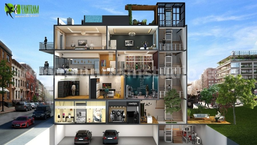 Different Types Of Multi story 3D Cut Section Home Design by Yantram     Different Types Of Multi story 3D Cut Section Home Design by Yantram floor  plan designer