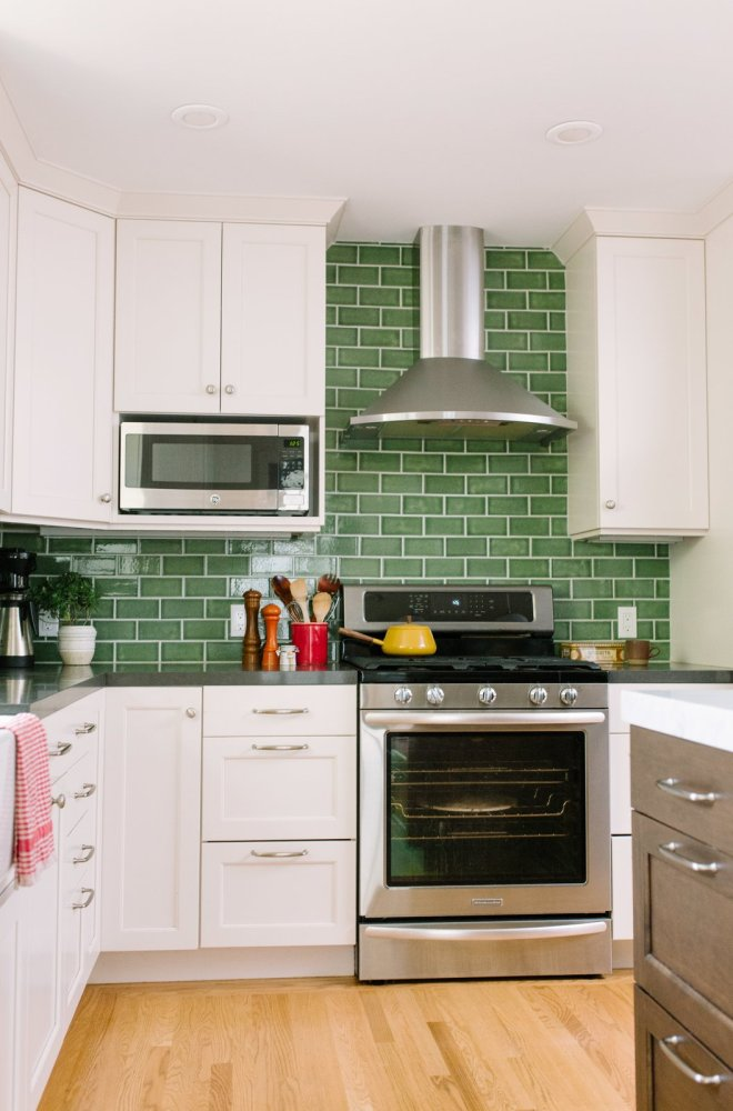 """25 Backsplash Ideas For Your Kitchen Renovation - Photo 18 of 25 - Fireclay Tile in a classic subway pattern goes beyond the standard 18"""" H backsplash raising the ceiling visually."""