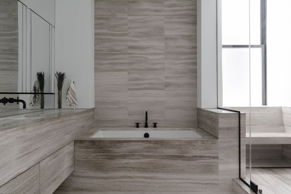 modern bathroom stone tile walls design