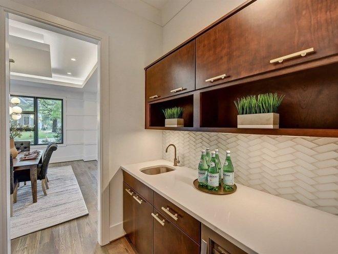 25 Backsplash Ideas For Your Kitchen Renovation - Photo 8 of 25 - Butler's pantry with herringbone backsplash