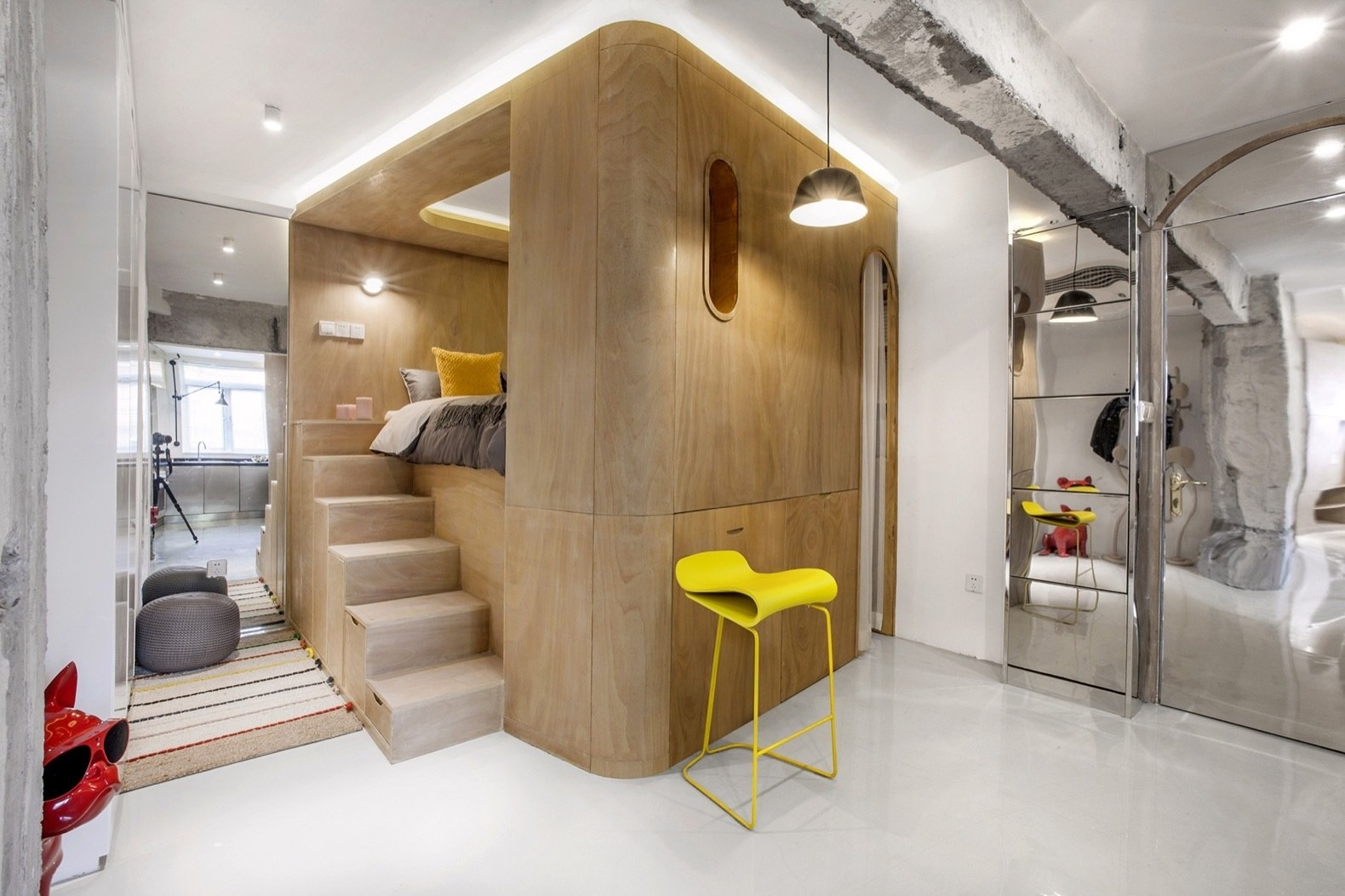 Rotated Volumes Cleverly Maximize Space In A Tiny Shanghai | Clever Stairs For Small Spaces | Staircase | Upstairs Small Space | Front Window | Small Area | Mini