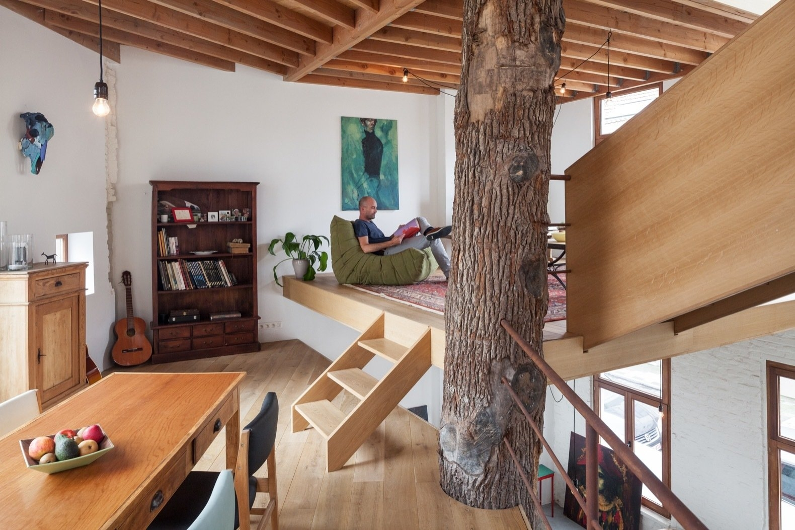 A Crumbling Home Is Revived Around A Massive Tree Trunk Dwell   Spiral Staircase Around Tree Trunk   Stair Case   Nelson Treehouse   Staircase Design   Robert Mcintyre   Canopystair